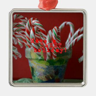 Zuckerstange-Feiertags-Grüße Quadratisches Silberfarbenes Ornament