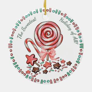 Zuckerstange-Lutscherschokoladen Rundes Keramik Ornament