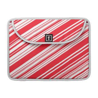 Zuckerstange-rote und weiße diagonale multi MacBook pro sleeve