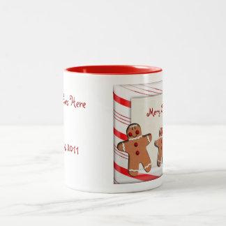 Zuckerstange Stripes Lebkuchen-Mann-Plätzchen Zweifarbige Tasse