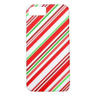 Zuckerstange Stripes Weihnachtsrotes weißes Grün iPhone 7 Hülle