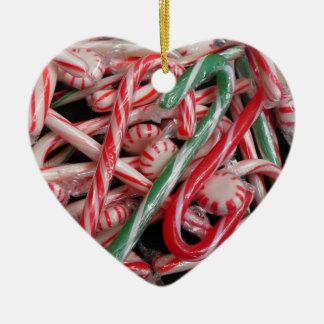 Zuckerstange-und Pfefferminz-Weihnachtsfeiertag Keramik Ornament