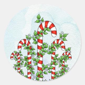 Zuckerstange-und Rebe-Weihnachtsaufkleber Runder Aufkleber