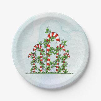 Zuckerstange-und Rebe-Weihnachtsplatte Pappteller