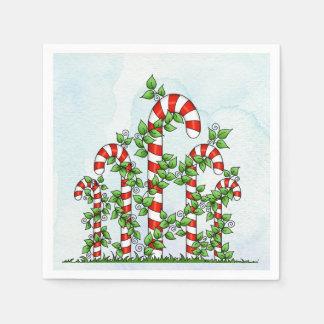 Zuckerstange-und Rebe-Weihnachtsserviette Serviette
