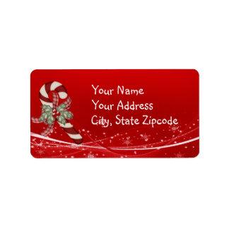 Zuckerstange-Weihnachten Adressaufkleber