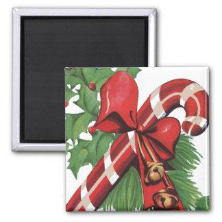 Zuckerstange-Weihnachten Quadratischer Magnet
