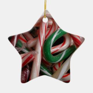 Zuckerstange-Weihnachtsfeiertags-weißes Grünes und Keramik Ornament