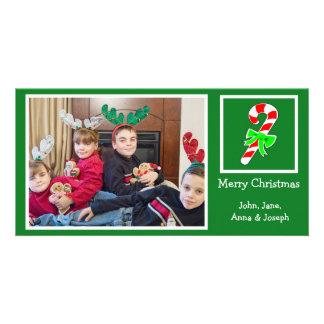 Zuckerstange-WeihnachtsFoto-Karte (Grün) Karte