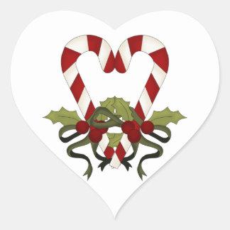Zuckerstange-Weihnachtsherz Herz-Aufkleber