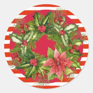 Zuckerstange-WeihnachtsKranz-Aufkleber Runder Aufkleber