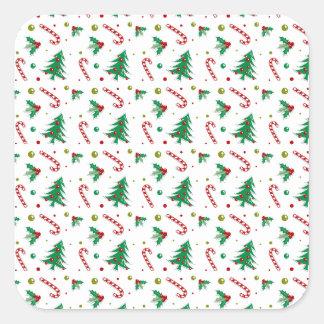 Zuckerstangen, Mistelzweig und Weihnachtsbäume Quadratischer Aufkleber