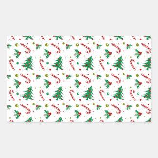 Zuckerstangen, Mistelzweig und Weihnachtsbäume Rechteckiger Aufkleber