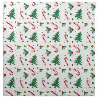Zuckerstangen, Mistelzweig und Weihnachtsbäume Stoffserviette