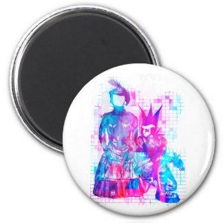 Zuckerwatte Goth Mädchen und Punk-Typ Runder Magnet 5,7 Cm