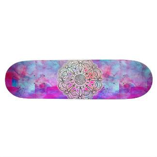 Zuckerwatte u. gelbes Mandala-Skateboard Skateboard