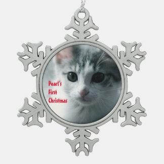 ZUERST 1. WEIHNACHTSFoto Schneeflocken Zinn-Ornament