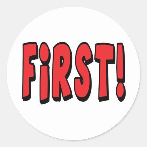 Zuerst! Runder Sticker