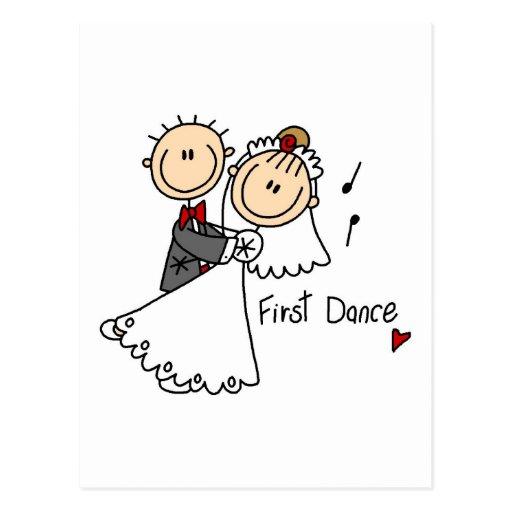 Zuerst Tanz-Hochzeits-T-Shirts und Geschenke Postkarten