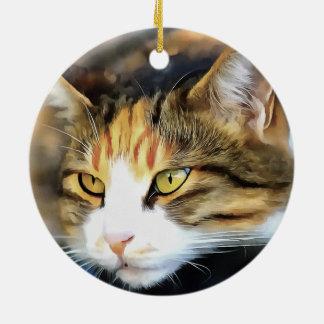 Zufrieden gestellte Katze Rundes Keramik Ornament