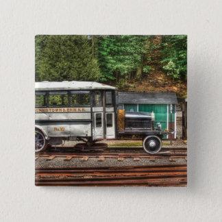 Zug - der Schienen-Bus Quadratischer Button 5,1 Cm