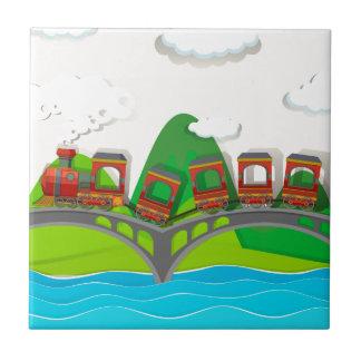 Zug, der über der Brücke kreuzt Fliese