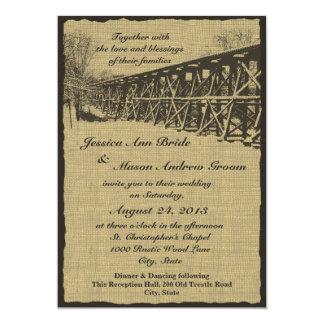 Zug-Gestell-rustikale Hochzeit 12,7 X 17,8 Cm Einladungskarte