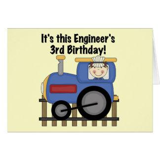 Zug-Ingenieur-3. Geburtstags-T-Shirts und Karte