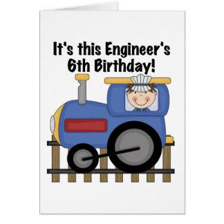 Zug-Ingenieur-6. Geburtstags-T-Shirts und Karte