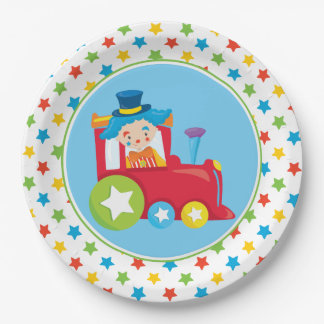 Zug-Motor des Zirkus-Zug-| mit Clown Pappteller