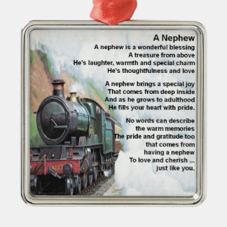 Zug - Neffe-Gedicht Quadratisches Silberfarbenes Ornament