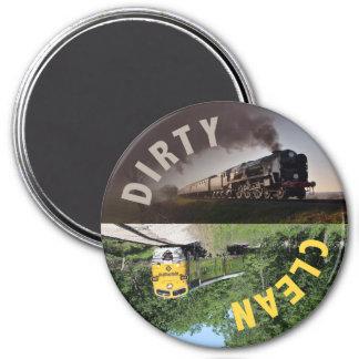 Zug-sauberer schmutziger Spülmaschinen-Magnet Runder Magnet 7,6 Cm