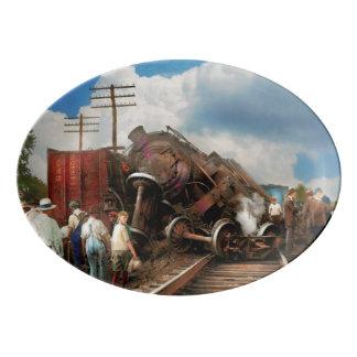 Zug - Unfall - stoßende Köpfe 1922 Porzellan Servierplatte
