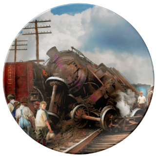 Zug - Unfall - stoßende Köpfe 1922 Teller