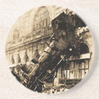 Zug-Wrack bei Montparnasse 1895 Vintag Sandstein Untersetzer