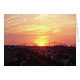 Zug-Yard am Sonnenuntergang Karte