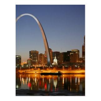 Zugangs-Bogen St. Louis Mississippi nachts Postkarte