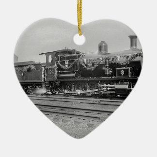 ZugdampflokomotivMotoralte Bahneisenbahn Keramik Herz-Ornament