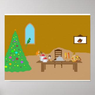 Zuhause am Weihnachten Poster