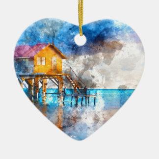 Zuhause auf dem Ozean im Amber Caye Belize_ Keramik Herz-Ornament