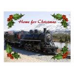 Zuhause auf dem Zug für Weihnachtspostkarte Postkarte