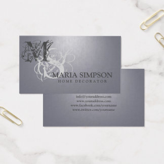 Zuhause-Dekorateur-Initialen-lila graue Visitenkarte