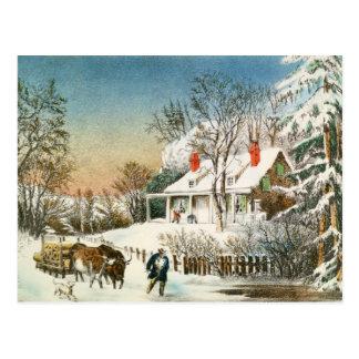 Zuhause die Klotz holen, Winter-Landschaft Postkarte