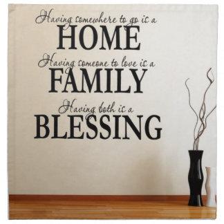 Zuhause + Familie = Segen Stoffserviette