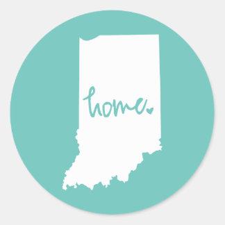 Zuhause-Indiana-Gewohnheits-Farbe Runder Aufkleber