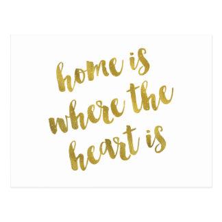 Zuhause ist, wo das Herz Zitat-Imitat-Goldfolie Postkarte