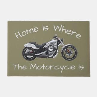 Zuhause ist, wo das Motorrad Tür-willkommene Matte