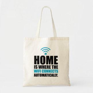Zuhause ist, wo das Wi-Fi automatisch anschließt Tragetasche