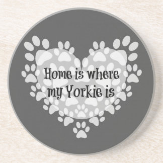 Zuhause ist, wo mein Yorkie Zitat ist Getränkeuntersetzer