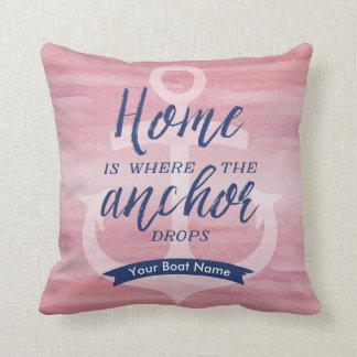 Zuhause ist, wohin der Anker fällt - (Rot/Marine) Kissen